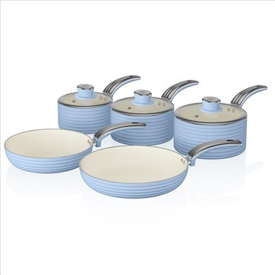 Swan Retro 5 Piece Pan Set Blue - Blue