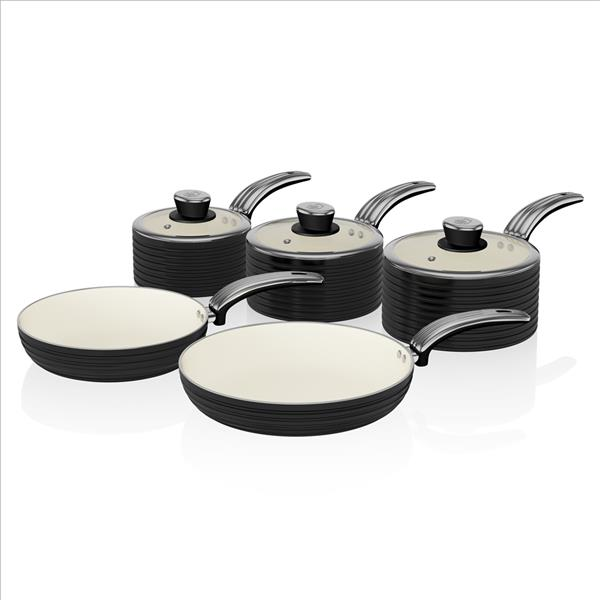 Swan Retro 5 Piece Pan Set Black - Black