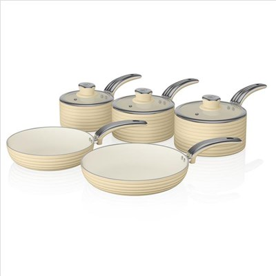 Swan Retro 5 Piece Pan Set Cream - Cream
