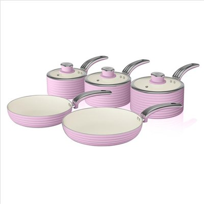 Swan Retro 5 Piece Pan Set Pink - Pink