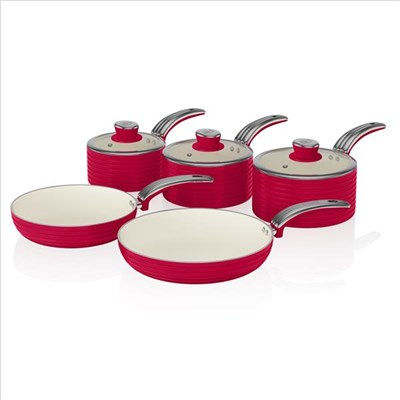 Swan Retro 5 Piece Pan Set Red - Red