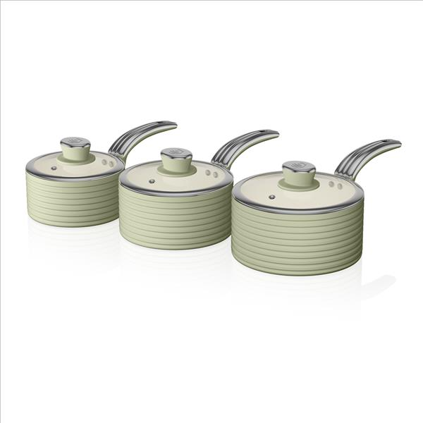 Swan Retro 3 Piece Saucepan Set - Green