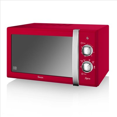 Swan 800W Manual Microwave - Red