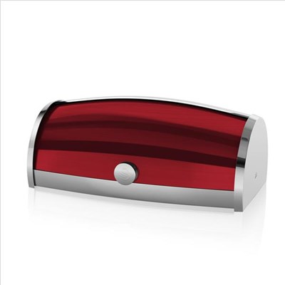 Swan Townhouse Roll Top Bread Bin - Red