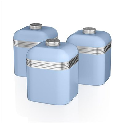 Swan Retro Set Of 3 Canisters Blue - Blue