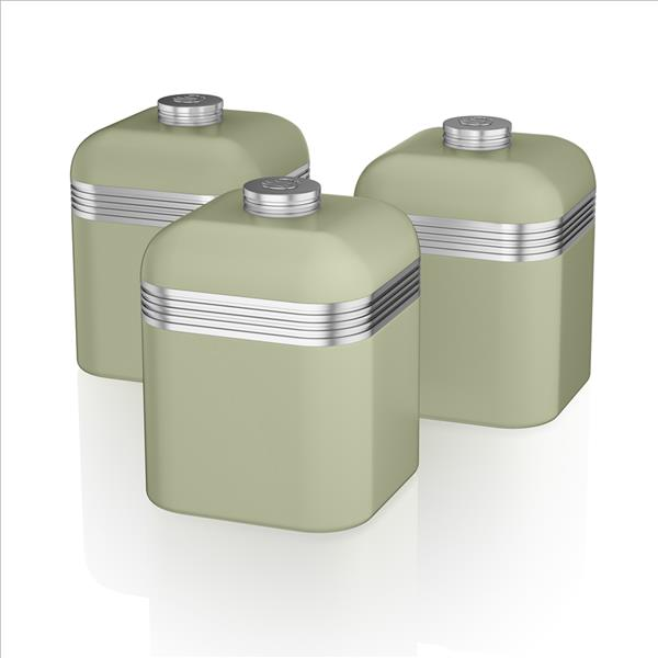 Swan Retro Set Of 3 Canisters Green - Green