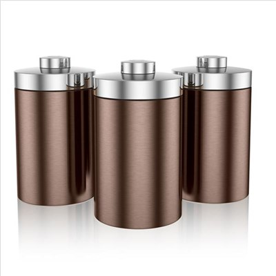 Swan Townhouse Set Of 3 Canisters Copper