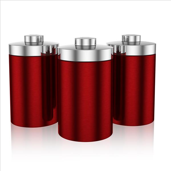 Swan Townhouse Set Of 3 Canisters - Red