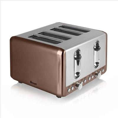Swan 4 Slice Copper Toaster Copper