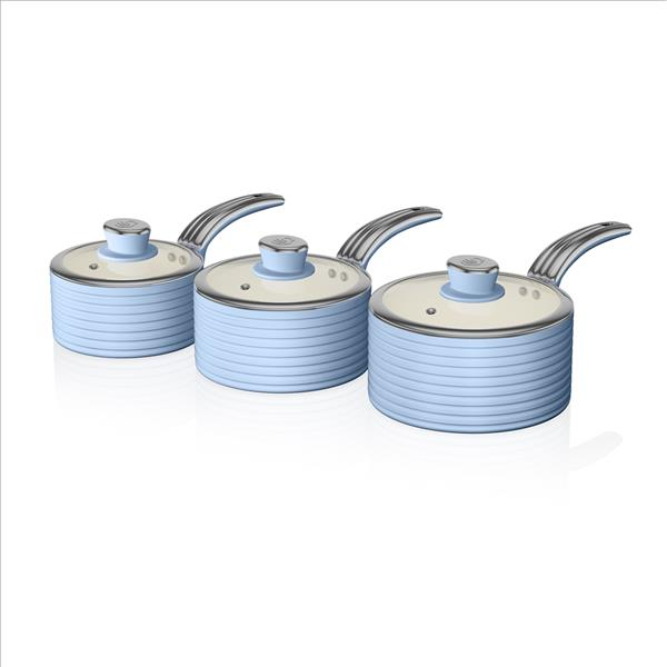 Swan Retro 3 Piece Saucepan Set