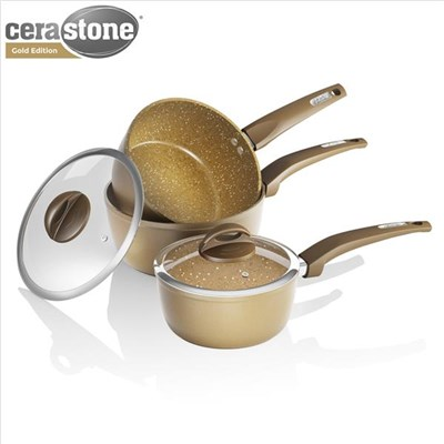 Tower 3Pce Forged Pan Set 18/20/22Cm - Gold