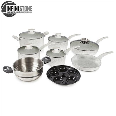 Tower 9Pce Stone Coated Cookware Set - Grey