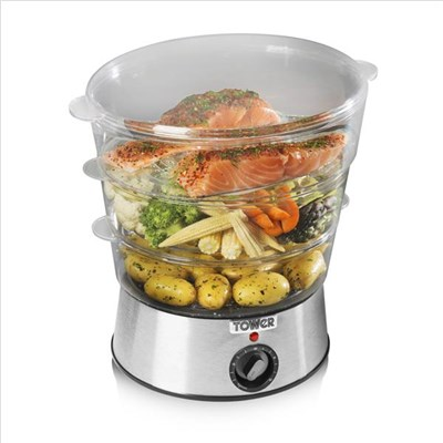 Tower 400W 5L Health 3 Tier Steamer with Collapsible Baskets