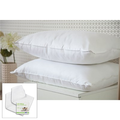 Downland Eternity Satin Bound 100% Cotton Cover Pillow pair with Pair of Pillow Protectors