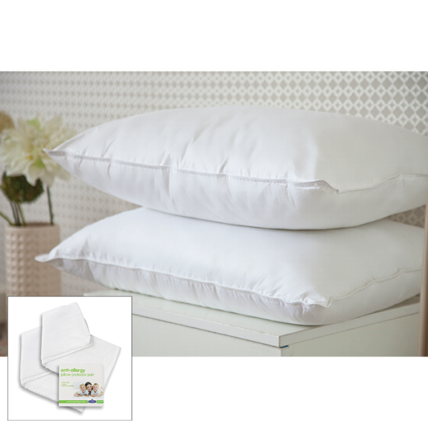 Downland Eternity Satin Bound 100% Cotton Cover Pillow pair with Pair of Pillow Protectors No Colour