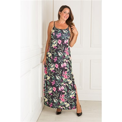 Nouvelle Tropical Print Strappy Side Slit Maxi Dress