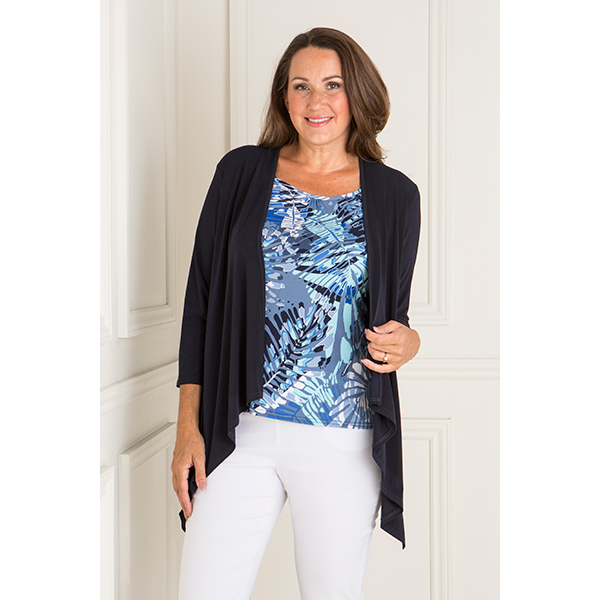 Reflections 2 in 1 Mock Jacket and Printed Top Navy Print