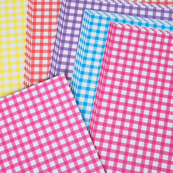 Kanban A4 Naturals Card Gingham 300Gsm 20 Sheet Bulk Pack Assorted Colours Assorted Bright No Colour