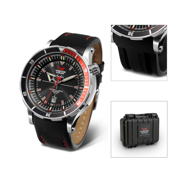 Vostok Europe Gent's Anchar Automatic Watch with Interchangeable Strap and Dry Box Black