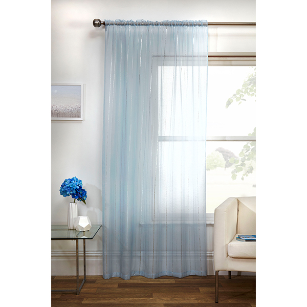 Pair of Vertigo (55 x 72 inch drop) Voile Panels Blue