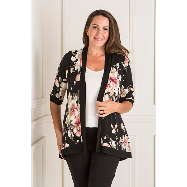Styled By Printed Kimono Jacket Blush Bouquet