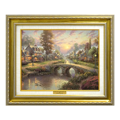 Thomas Kinkade Sunset On Lamplight Lane Open Edition Canvas Classic