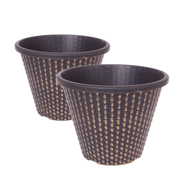 Pair of 11inch Gold Pinecone Planters No Colour