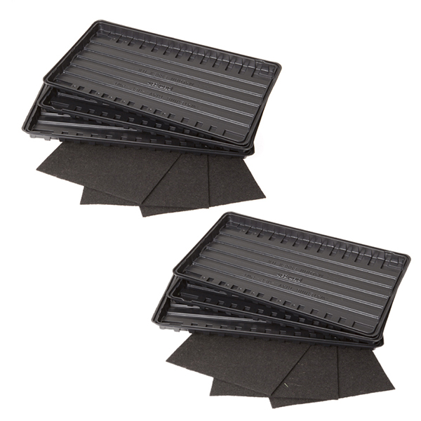 Set of 6 Watering Trays and Capillary Mats No Colour