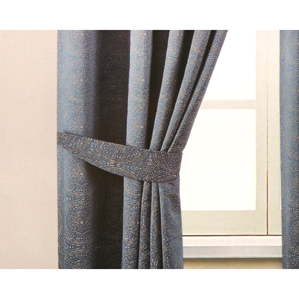 Estow Embroidered Effect Jacquard Lined (46 inches x) Ring Top Curtains Blue