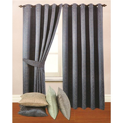 Estow Embroidered Effect Jacquard Lined (90 inches x) Ring Top Curtains