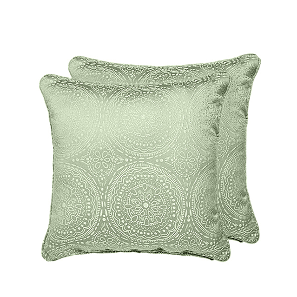 Estow Embroidered Effect Jacquard Cushion Case Pair Green