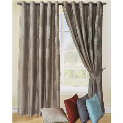 Peacock Feather Jacquard Lined (90 inches x) Ring Top Curtains