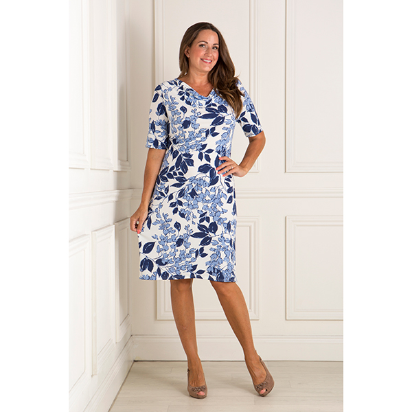 Nicole Print Cowl Neck Dress Navy Floral