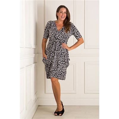 Nicole Print Wrap Front Drape Dress
