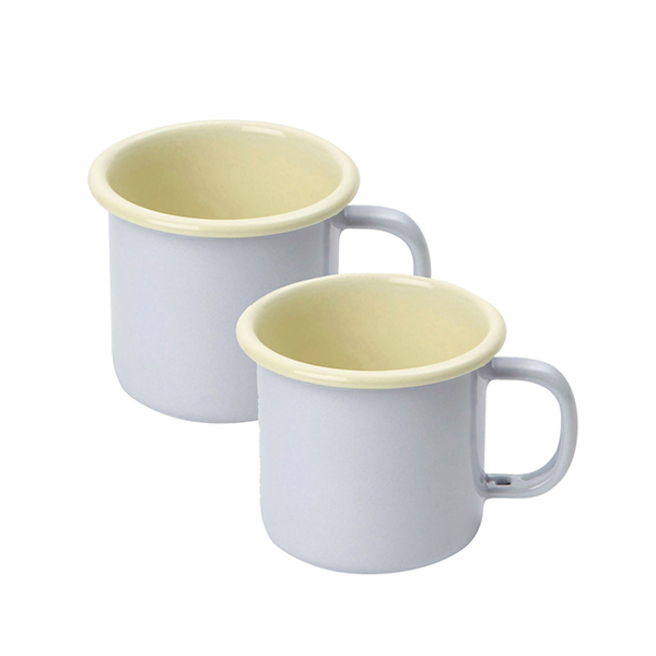 Set of 2 Enamelware Espresso Mugs 150ml Buttermilk