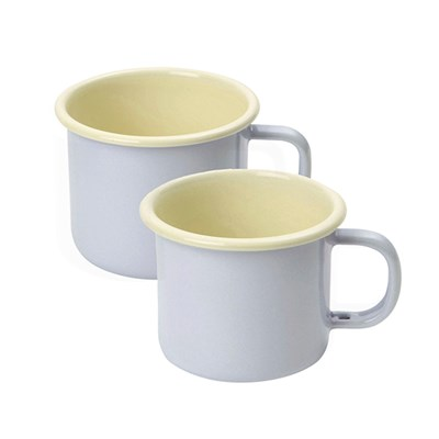 Set of 2 Enamelware 450ml Mugs