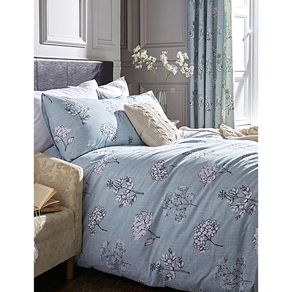 Tiffany Floral Print Single Size Duvet Set Duck Egg