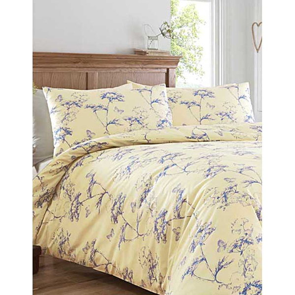 Botanical Print King Size Duvet Set Blue