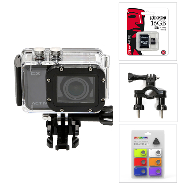 Activeon CX HD Pocket Action Camera with Waterproof Case, 16GB Micro SD Card, Faceplate Kit and Bike Mount No Colour