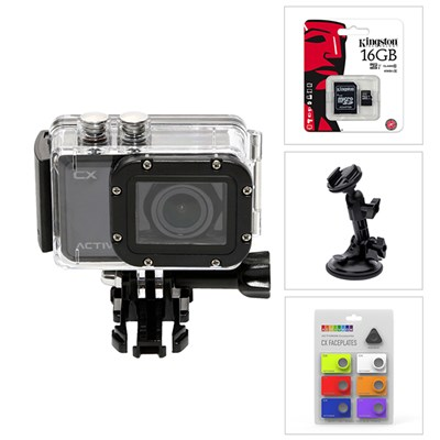 Activeon CX HD Pocket Action Camera, SD Card, Faceplates, Motorsport Mount