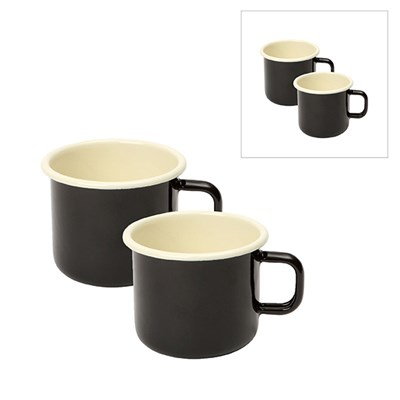 Enamelware Set of 2 150ml Espresso Mugs and 2 450ml Mugs