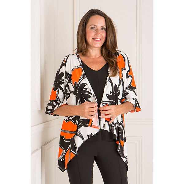 Reflections Printed Frill Sleeve Jacket Orange/Black Floral