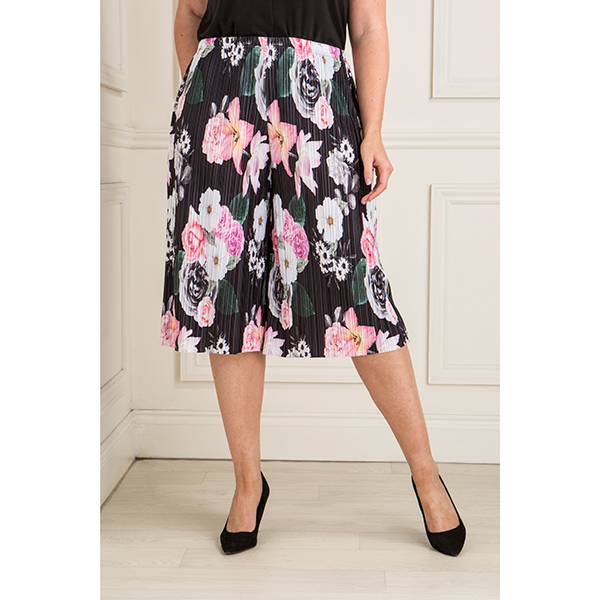 Nouvelle Printed Pleated Culottes Black Floral