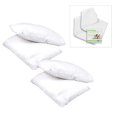 Pack of 4 Core Support Pillows and Pillow Protector Pair