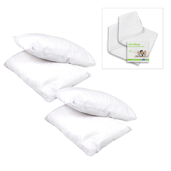 Pack of 4 Core Support Pillows and Pillow Protector Pair No Colour