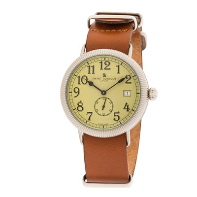 Smart Turnout London Officer Watch with Swiss Movements and Leather Strap
