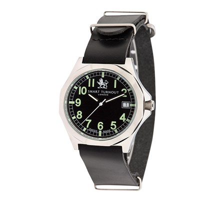 Smart Turnout London Military Watch with Swiss Movements and Leather Strap