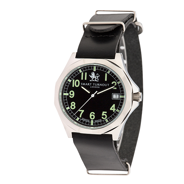 Smart Turnout London Military Watch with Swiss Movements and Leather Strap Black