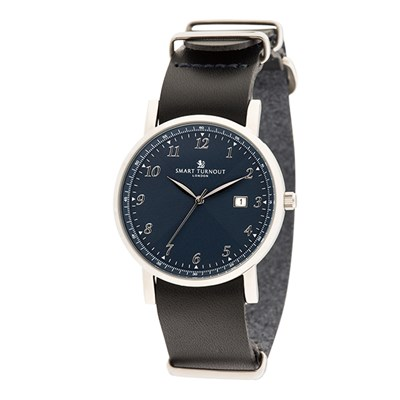 Smart Turnout London Gent's Navy Face Savant Watch with Leather Strap