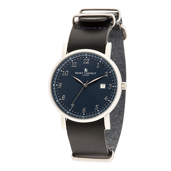 Smart Turnout London Gent's Navy Face Savant Watch with Leather Strap Silver